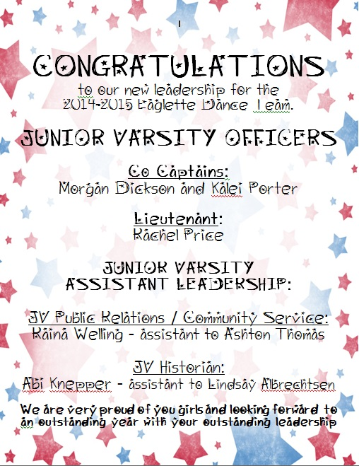 Officer List 2014-15 (junior varsity)