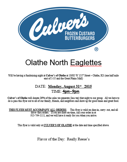 Eaglette Night at Culvers - 8.31.15